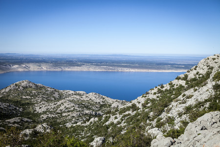 Croatia, Paklenica, View across Pag Island LANG_EVOIMAGES