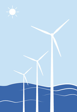 environmental issues: Wind turbines against blue background, illustration