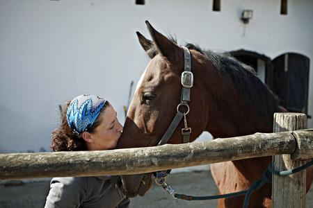 Woman Kissing Horse, Portrait, Baranja, Croatia, Europe