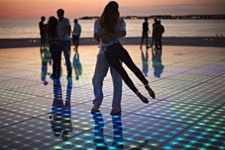 night club series: Croatia, Dalmatia, Solar panels as a dance floor, sunset in background