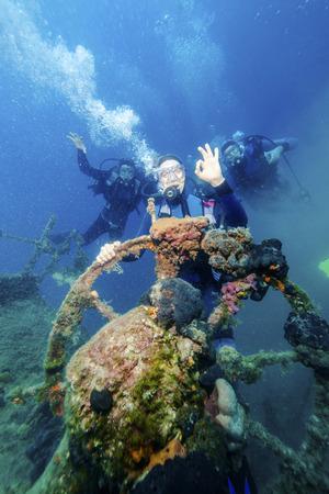 Diving, Shipwreck, Adriatic Sea, Croatia, Europe LANG_EVOIMAGES