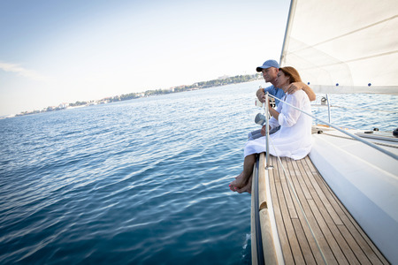 Mature couple on sailboat, relaxing, Adriatic Sea, Croatia