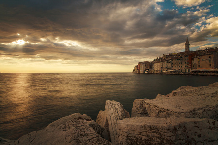City on the Mediterranean with dramatic sky, Rovinj, Istria, Croatia LANG_EVOIMAGES
