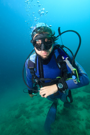 Diving, Portrait of Diver, Adriatic Sea, Croatia, Europe LANG_EVOIMAGES