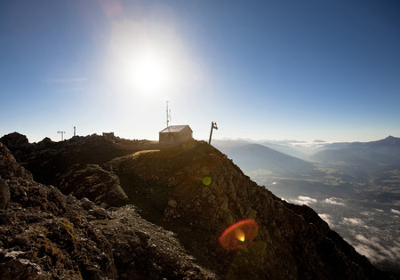 Mountain scenery with backlight, Innsbruck climbing route, Tyrol, Austria