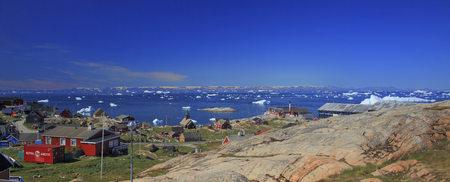 arctic waters: Panoramic, village on waters edge, Arctic Ocean, Greenland LANG_EVOIMAGES