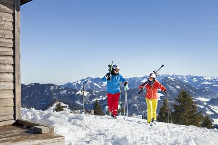 ski walking: Ski holiday, Skiers on mountain peak, Sudelfeld, Bavaria, Germany