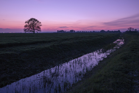 afterglow: Afterglow over landscape