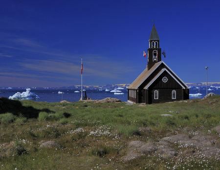 arctic waters: Church on waters edge, Arctic Ocean, Greenland