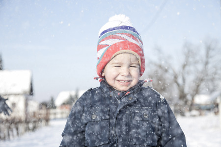 bobble: Boy with bobble hat in snow