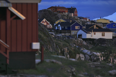 arctic waters: Village on waters edge, Arctic Ocean, Greenland