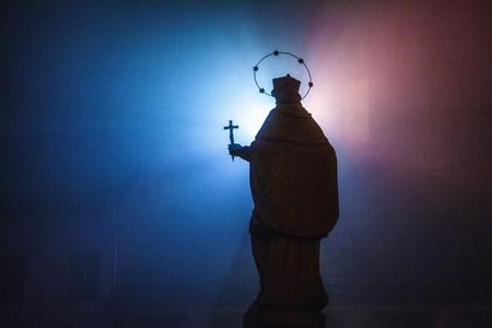 Statue of Saint John of Nepomuk in Osijek at night