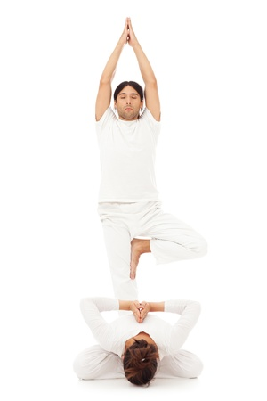 tree position: Two people doing yoga together, one of them standing in the Tree position, and the other being in the Reverse Prayer position.