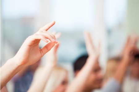 with raised: Hands raised Stock Photo