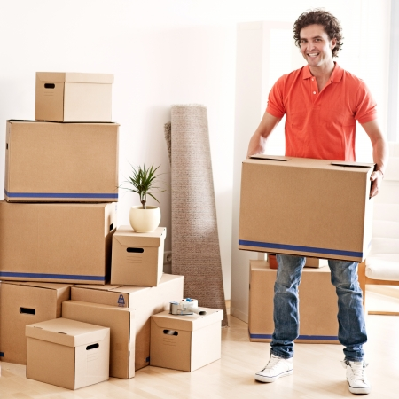 man carrying box: A young handsome man moving into a new apartment.
