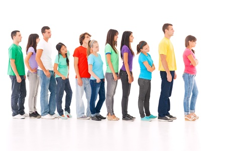 people from behind: A group of people standing in the queue, isolated on white.
