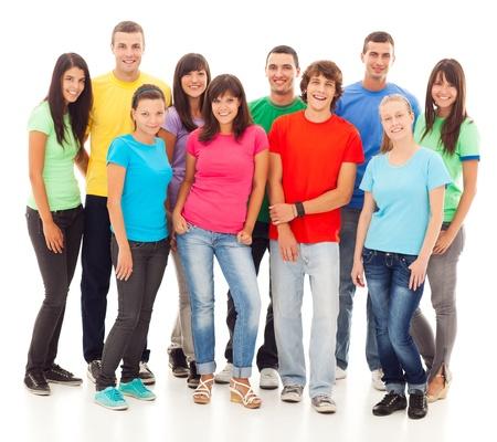 grote groep mensen: Een groep jonge mensen, geïsoleerd op wit.