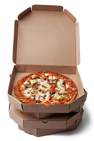 pizza box: Deliciosa pizza lista para la entrega. Foto de archivo