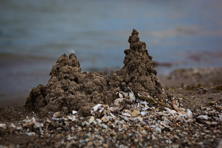 sandcastles: Sandcastles and shells scattered on the beach Stock Photo