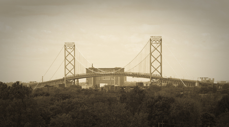 Ambassador Bridge International Border Crossing as seen from Windsor, Ontario
