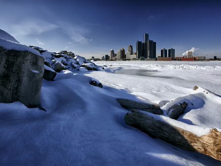Winter Landscape of the Windsor, Ontario and Detroit, Michigan Riverfronts as seen from the bank of the Detroit River