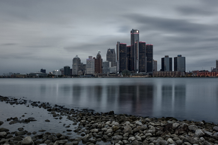 Scenic Windsor Ontario Riverfront View of Detroit, Michigan Stock Photo