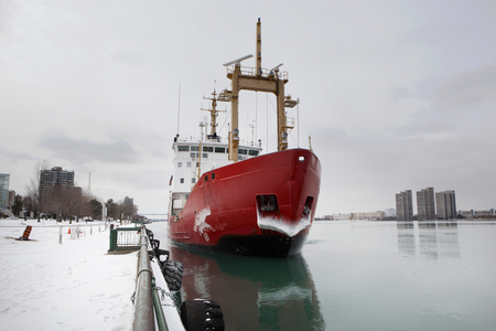 February 28 2019 Windsor Ontario Transportation Docking Canadian Naval Coast Guard Ship pulling into dock at Windsor, Ontario Canada Stock Photo