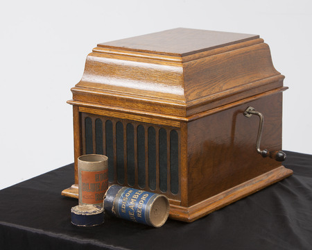 Antique Vintage Recording Crank Audio Player Edison Cylinder Phonograph with Cylinders and storage tubes