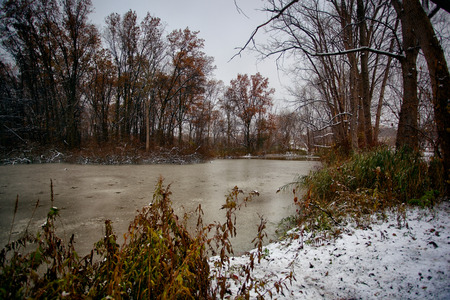 Windsor, Ontario Canada Fall Autumn Malden Park Pond Late Afternoon Winter Scene Stock Photo
