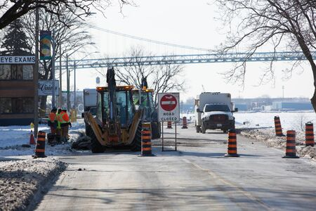 January 21 2019 Windsor Ontario Canada Road Closed Public Works Civil Road Maintenance