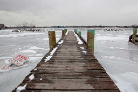 Background Scenic Boat Launch Dock Converging Convergence Moorings Frozen River Ice