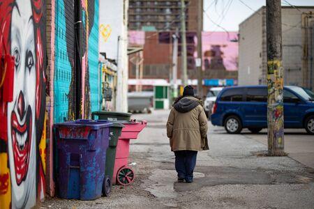 April 17 2019 Windsor Ontario Canada Street Photography Man Someone Anyone Somebody Anybody Walking Away Urban Alley Editorial