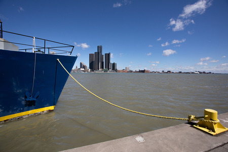 Windsor Ontario Canada Boat River Cruise Ship Detroit River Moored 免版税图像