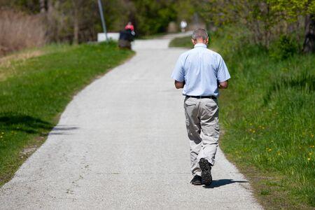 May 14 2019 Windsor Ontario Canada Street Photography Man Someone Anyone Somebody Anybody Walking Away Urban Park Trail