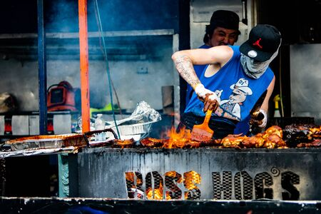 2019-06-01 Windsor, Ontario Canada Ribfest Food Festival Ribs Chicken Pulled Pork Barbecue Grill Cooking Boss Hogs Editorial