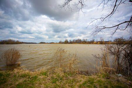 Landscapes Backgrounds Riverfront Park Cloudy Blue Sky Afternoon Daytime