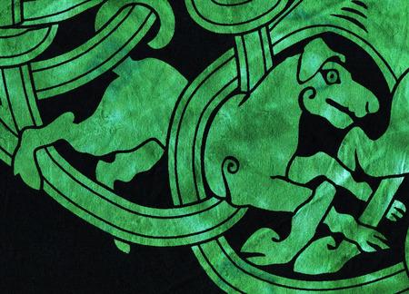 Celtic Hunting Dog Textile Design Imagens