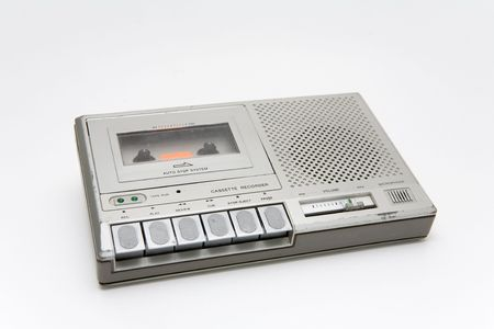 scratchy: Portable cassette recorder. Old and scratchy. Stock Photo