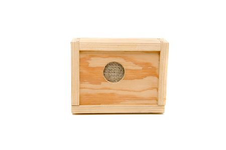aural: Wooden hand made apparatus with a built in speaker