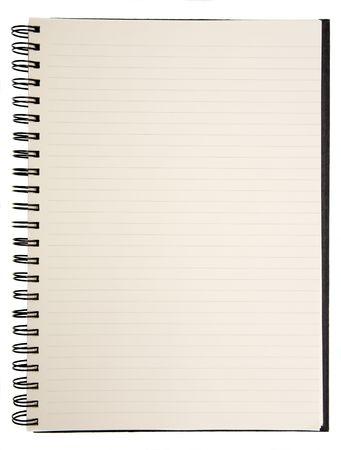 Abrir el bloc de notas en blanco sobre fondo blanco  Foto de archivo - 643659