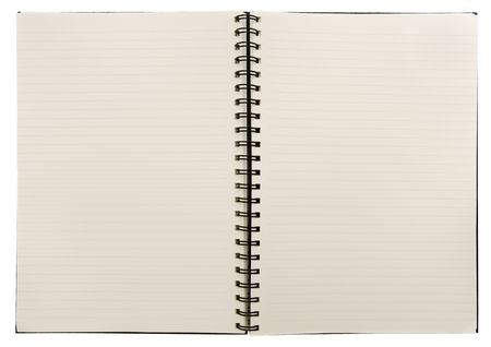Open blank notebook on a white background