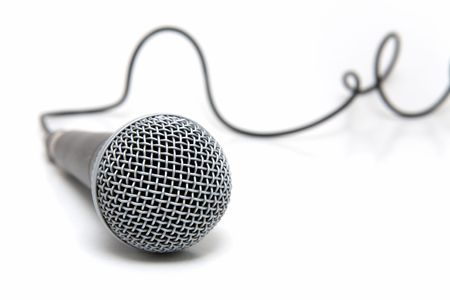 narrator: Professional microphone with a cable connected Stock Photo