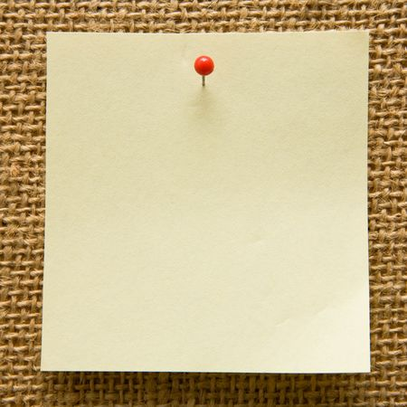 board pin: Blank note on a bulletin board Stock Photo
