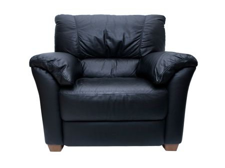 Black leather chairÊon a white background