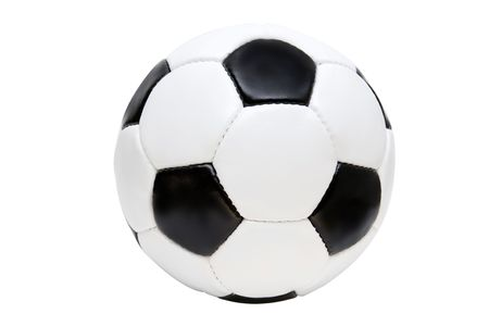 Leather soccer ball on a white background Stock Photo