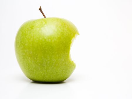 Bitten green apple Stock Photo