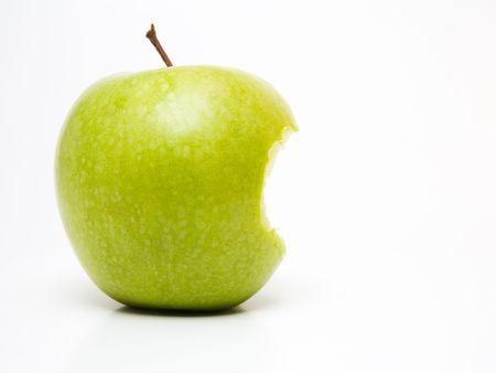 Bitten green apple Stock Photo
