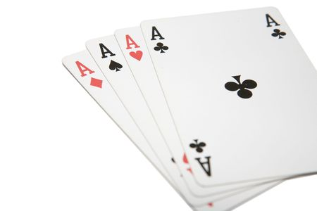 risky situation: Winning playing cards, four aces, isolated on a white backgound Stock Photo