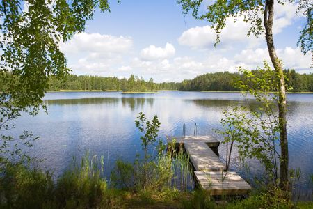 Финляндия: Swimming pier at a lake in Finland