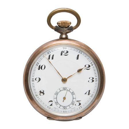 Vintage pocket watch isolated on a white background with a clipping path Stock Photo